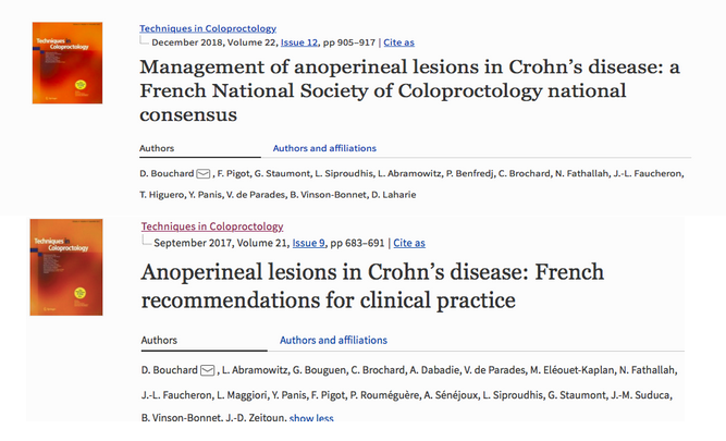 Management of anoperineal lesions in Crohn's disease: a French National Society of Coloproctology national consensus / Anoperineal lesions in Crohn's disease: French recommendations for clinical practice